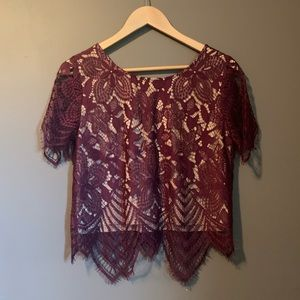 NWT express lined red lace tee